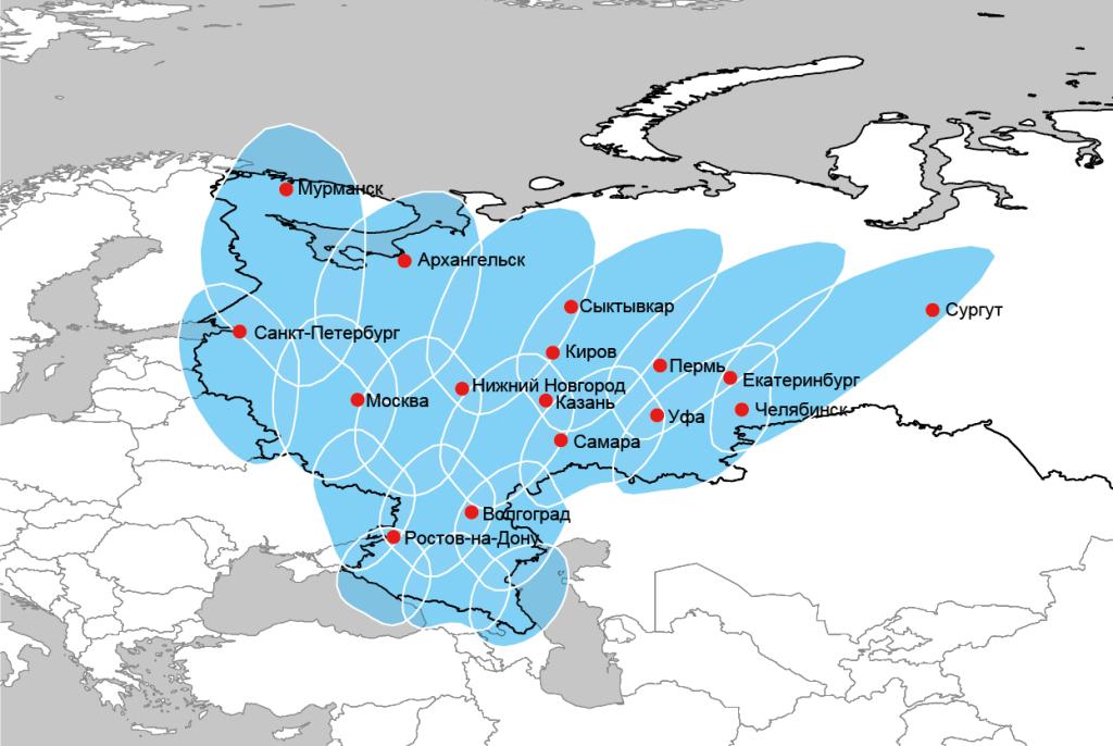 Карта покрытия спутникового интернета Eutelsat